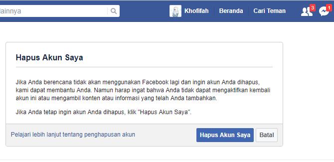 menonaktifkan akun facebook permanen