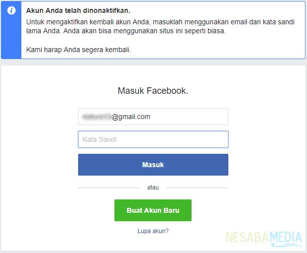akun facebook berhasil dinonaktifkan