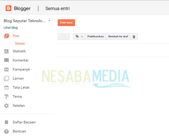 menu dan tombol pada blogger