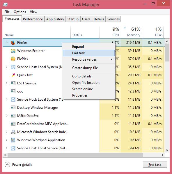 cara mematikan program secara paksa dengan memilih End task