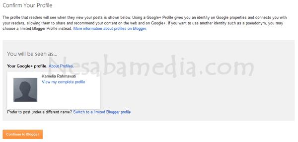 pilih continue to blogger