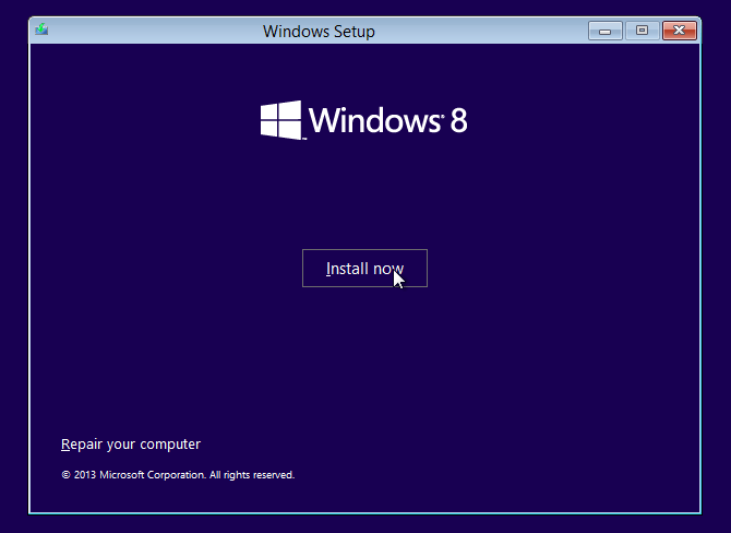 Pilih Install now windows 8