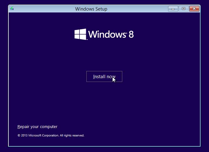 Pilih Install now windows 8