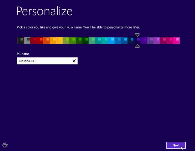 pilih latar warna yang diinginkan beserta masukkan nama PC windows 8