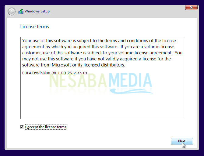 centang license terms windows 8