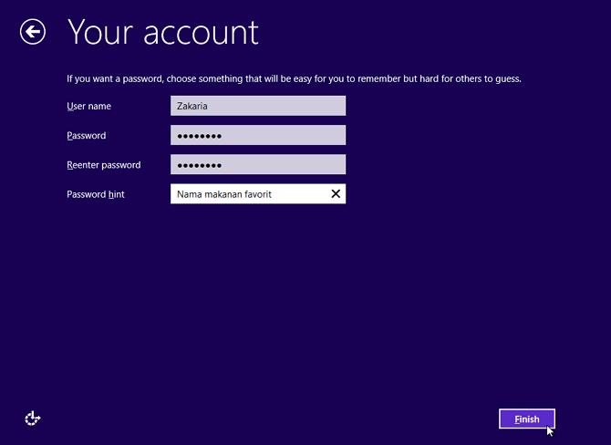 masukkan nama pengguna beserta password hint windows 8