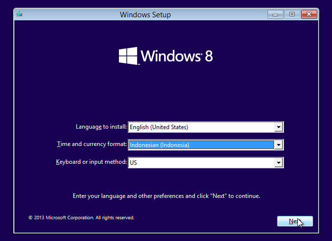 pilih Indonesian instalasi windows 8