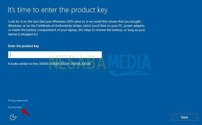 masukkan product key