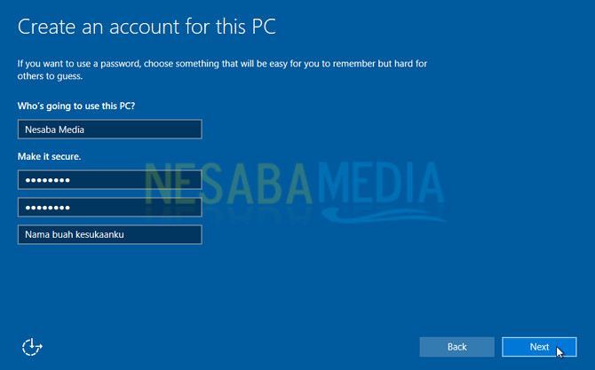 masukkan password untuk login windows 10
