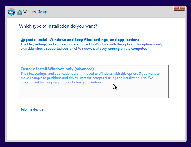 pilih custom untuk partisi windows 10