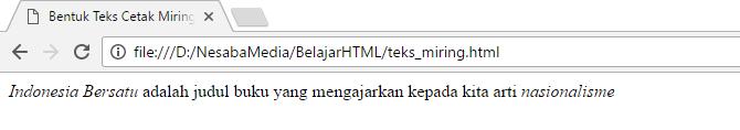 cara membuat tulisan miring di html