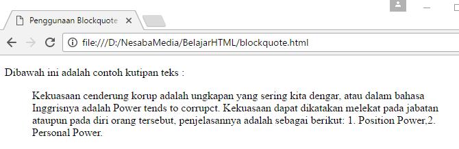 cara membuat kutipan dengan blockquote