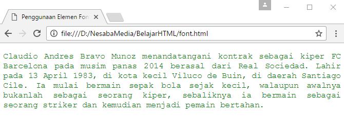 penggunaan tag font di html