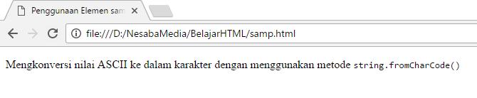 Penggunaan tag samp di html