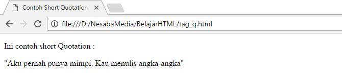 cara membuat kutipan dengan tag q