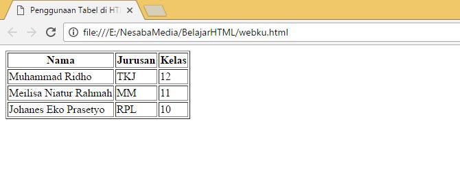 tabel sederhana dengan border