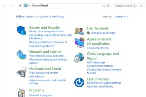 cara membuka control panel windows 10