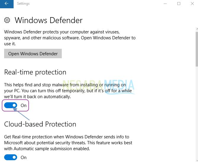 Pilih ON untuk mengaktifkan windows defender