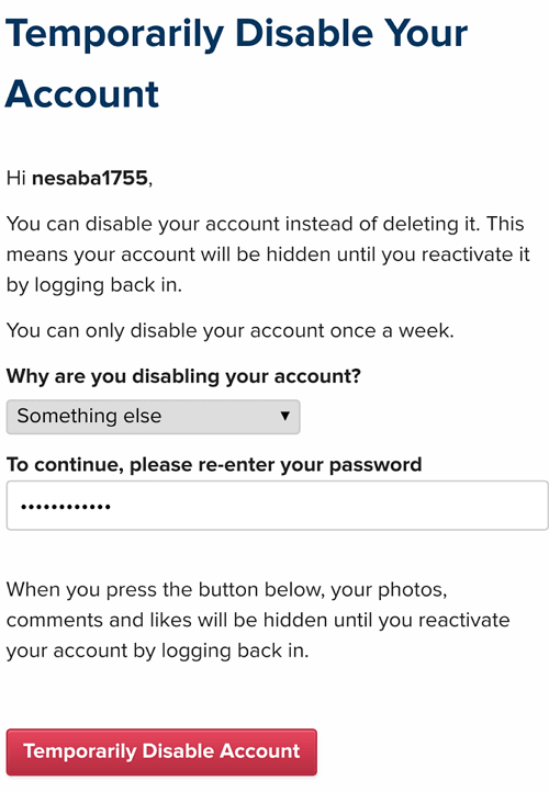 disable akun instagram