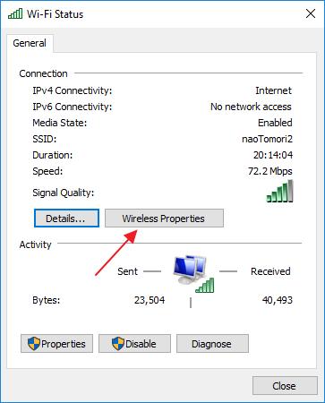 pilih tombol Wireless Properties