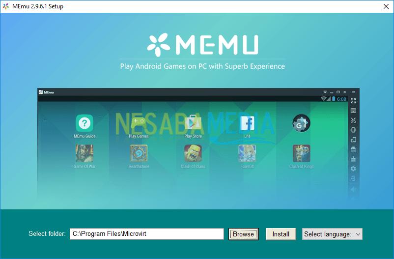 halaman awal instalasi Memu