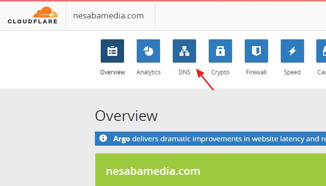 pilih DNS pada cloudflare