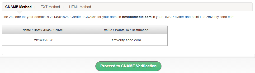 pilih proceed to cname verification