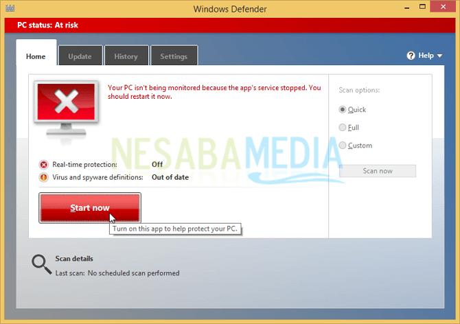 Cara Mengaktifkan Windows Defender di Windows 8/8.1