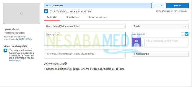 proses uploading di youtube