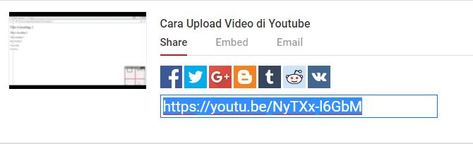 copy link video yang telah diupload tadi