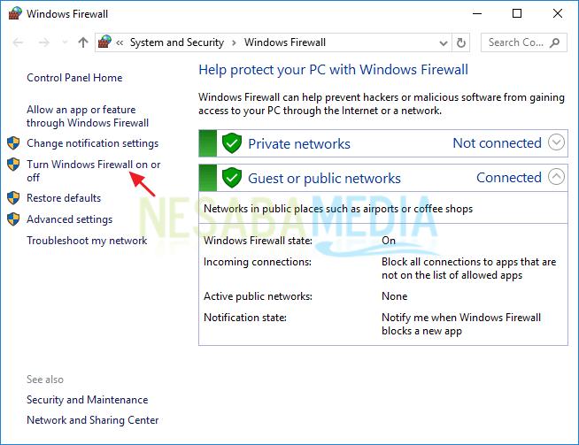 mematikan firewall windows