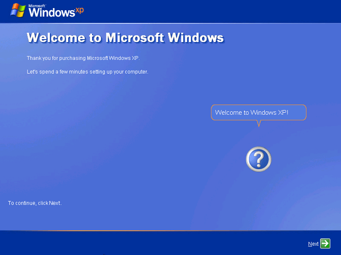 pilih next untuk halaman welcome windows xp