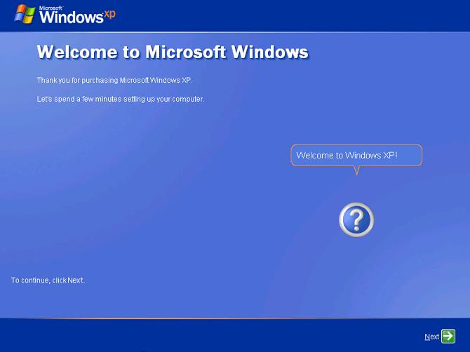 pilih next untuk halaman welcome windows xp