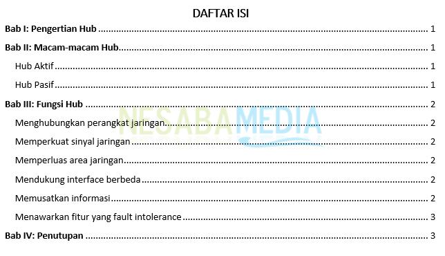 contoh daftar isi secara otomatis