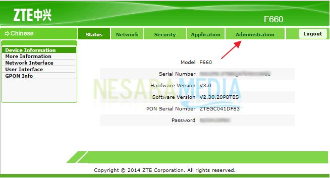 cara mengganti password wifi zte f660