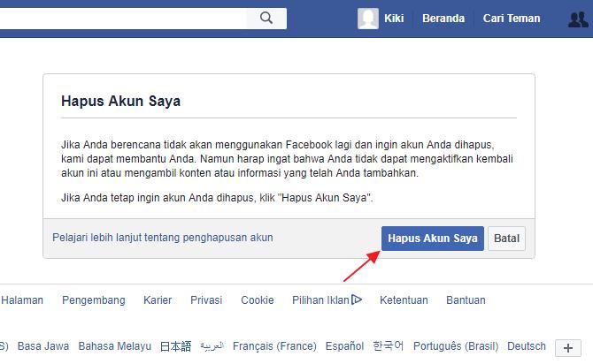 Cara Menghapus Akun Facebook Sendiri Permanen