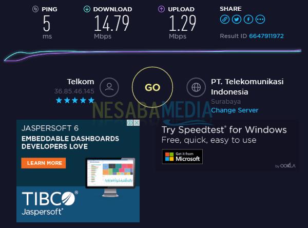 Hasil koneksi internet saya