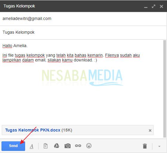 klik Send untuk mengirim email