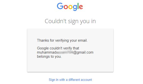 halaman error reset gmail