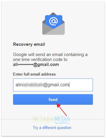 masukkan alamat email pemulihan