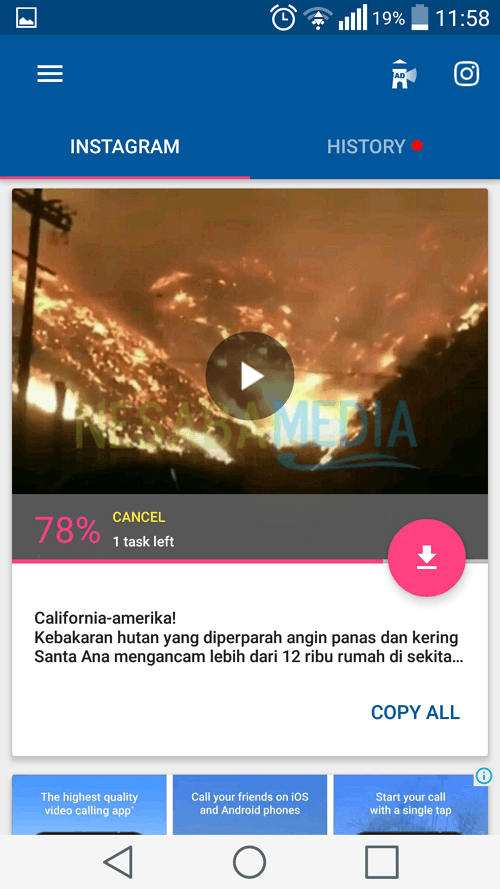 cara download video di instagram lewat HP Android