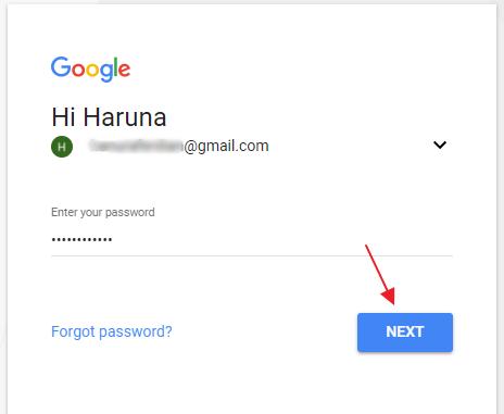 masukkan password gmail anda
