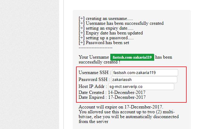 cara membuat akun ssh gratis