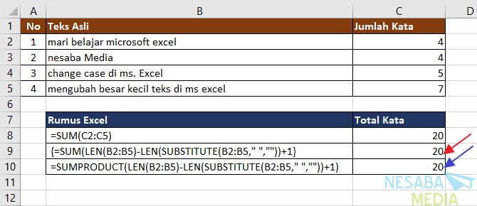 Menghitung Jumlah Total Kata Pada Sebuah Range