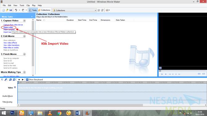 klik Import Video kemudian pilih video yang akan diedit