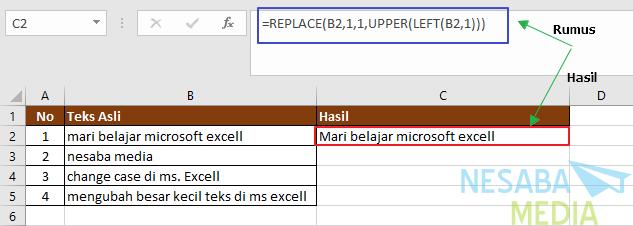 cara membuat huruf kapital diawal kata di excel