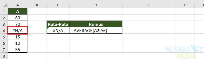 Contoh fungsi AVERAGE 4