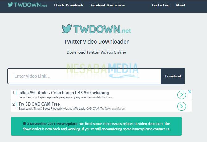 tampilan Twdown