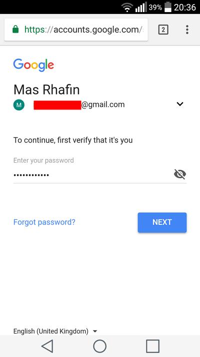 masukkan kembali password akun google anda