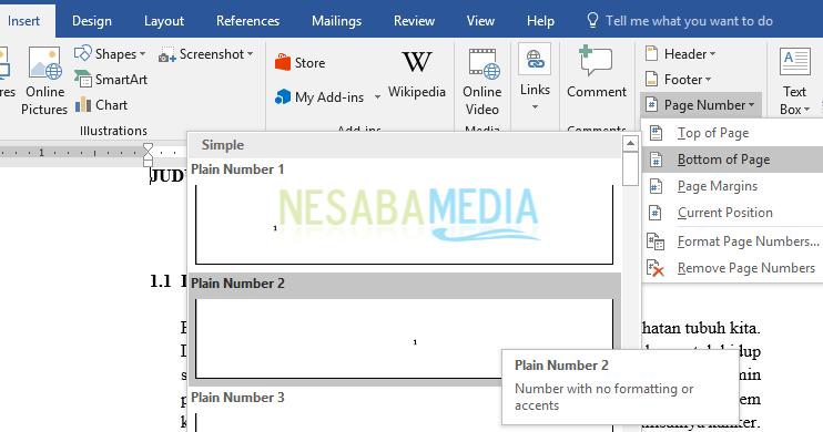 cara membuat nomor halaman skripsi
